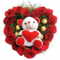 Send 18 Red Roses 5 Ferrero Rocher Teddy Heart. Send Gifts to India
