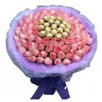 Rakhi Gift Delivery in India. 50 Pink Roses 16 Pcs Ferrero Rocher Bouquet