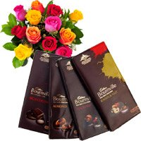 Online Gift hamper Delivery Chocolates, Roses Bunch with Rakhi to India
