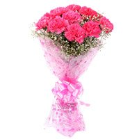 Pink Carnation Bouquet Flowers with Rakhi to India