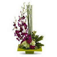 Best Rakhi with 5 Orchids 10 Carnation Flower Arrangement Delivery in India
