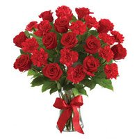 Rakhi with Red Rose Carnation Vase 24 Flowers  delivery in India on Rakhi
