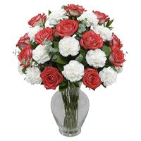 Send Rakhi with Flowers Red Rose White Carnation Gifts Online to India