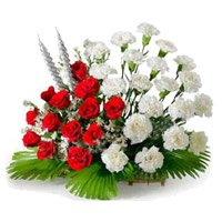 Online Red and White Carnation Flowers Basket to India