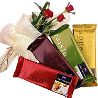 Deliver Rakhi Gift hamper Cadbury Chocolates With Red Roses in India