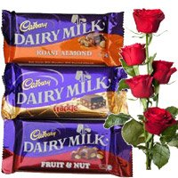 Online Gifts hamper Delivery in India Chocolates, Red Roses with Rakhi
