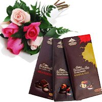 Deliver Bournville Chocolates With Red Pink Roses Rakhi Gift hamper to India