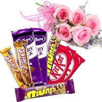 Send Twin Five Star, Dairy Milk, Munch, Kitkat Chocolates with 5 Pink Rose Flowers to India