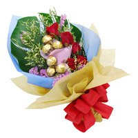 Order 6 Red Roses and 10 Pcs Ferrero Rocher Bouquet Delivery Gurgaon