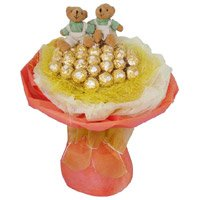 Place order to send Rakhi gifts to India. 16 Pcs Ferrero Rocher Twin 6 Inch Teddy Bouquet India