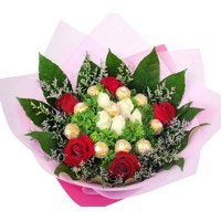Send Rakhi Gift hamper for brother Online Ferrero Rocher with Red White Roses Bouquet to India