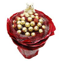 Online Rakhi Gift Delivery in Pune. 24 Pcs Ferrero Rocher 6 Inch Teddy Bouquet India
