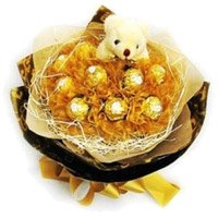 Rakhi Gifts to India of 16 Pcs Ferrero Rocher 6 Inch Teddy Bouquet in India