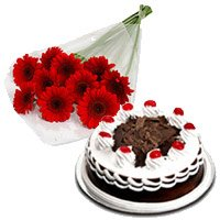 Rakhi with Red Gerbera with Black Forest Cake to India