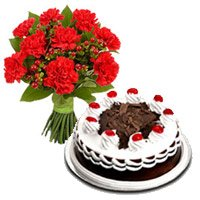 Rakhi with Red Carnation and Black Forest Cake to India