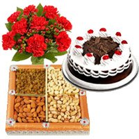 Rakhi Gifts to India for Brother. 12 Mix Carnation, 1/2 Kg Black Forest Cake and 1/2 Kg Dry Fruits to India