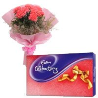 Send Gift to Faridabad that is, 6 Pink Carnation and Cadbury Celebration Pack