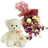 Order Rakhi and Purple Orchids, Yellow Carnations Bunch and Teddy in India