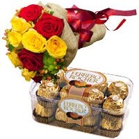 Order Online Rakhi with 12 Red Yellow Roses Bunch 16 Pcs Ferrero Rocher Gift hamper in India