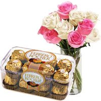 Deliver 10 Pink White Roses Vase 16 Pcs Ferrero Rocher Chocolates on Rakhi to India
