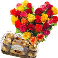 Send 30 Mix Roses Heart 16 Pcs Ferrero Rocher Gifts to jammu