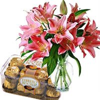 Send 15 Pink Lily Vase, 16 Pcs Ferrero Rocher Chocolates to India