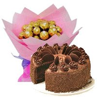 Send Rakhi with Chocolate Cake 5 Star Bakery with 16 Pcs Ferrero Rocher Bouquet gifts hamper India