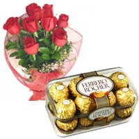 Order 12 Red Roses and 16 pieces Ferrero Rocher Gifts to India Online
