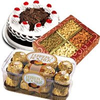 Send Rakhi with Black Forest Cake and 1/2 Kg Dry Fruits and Ferrero Rocher Chocolates Gift hamper India