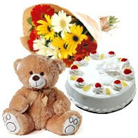 12 Gerbera Bouquet, 1 Kg Pineapple Cake and 1 Teddy Bear, Gifts Deliver to India