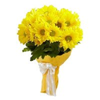 Best Rakhi with Yellow Gerbera Bouquet Flower Delivery in India