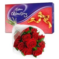 Online Rakhi Delivery with Cadbury Celebration Pack, 2 Red Roses Bunch to India