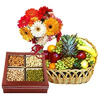 Rakhi Gift Delivery in India with Bunch of 12 Mix Gerberas with 3 kg Fresh fruit Basket and 0.5 kg Mixed Dry fruits
