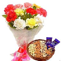 Send Rakhi with Chocolates to CHandigarh. 12 Mixed Flowers Bouquet with 1/2 Kg Assorted Dry Fruits and 2 Dairy Milk Chocolate