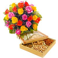 Online Rakhi Delivery in Gurgaon. 24 Mixed Roses with 1/2 Kg Assorted Dry Fruits in India