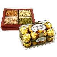 Online Rakhi Gift Delivery in jaipur. 500 gm Mixed Dry Fruits with 16 pcs Ferrero Rocher Chocolates to India