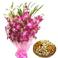 Send 12 Orchid Stem Flower Bouquet with 500 gm Assorted Gifts to Noida
