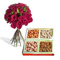 Rakhi Gifts Delivery in India for 12 Red Roses with 500 gm Mixed Dry Fruits to Noida