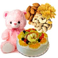 Order for Rakhi Gifts to Faridabad. 12 Inch Teddy 1 Kg Eggless Fruit with 500 gm Assorted Dry Fruits