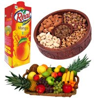 Rakhi Delivery in Gurugram with 1 Kg Real Juice with 2 Kg Fresh Fruits Basket and 1 Kg Mix Dry Fruits on Rakhi