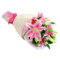 Send Pink Lily Flower Bouquet to India on Rakhi