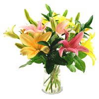 Online Mix Lily Flowers Vase with Rakhi