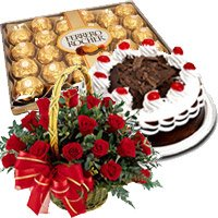 Send Gift hamper Red Roses Basket with Black Forest Cake and Ferrero Rocher Chocolate to India