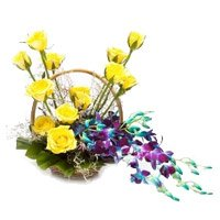 Send 6 Orchids 12 Roses Flower Arrangement with Rakhi in India