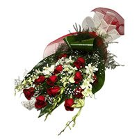 Order Rakhi with White Orchids 12 Red Roses Flower to India