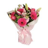 Pink Gerbera Lily Roses Bouquet Flowers with Rakhi to India